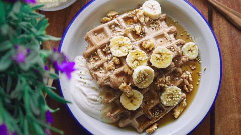 Banane-Walnuss Waffeln, vegan & glutenfrei