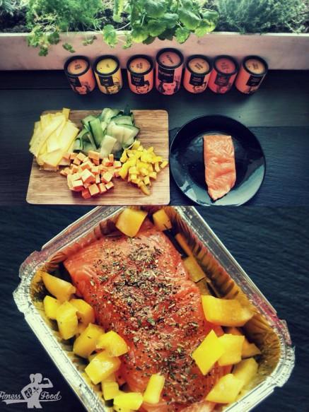 Gebackenes Wildlachs Filet mit Gemüse